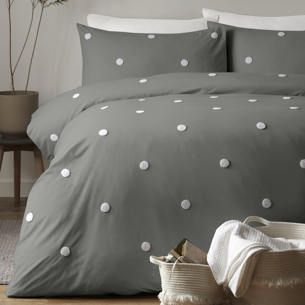 Dot Garden - 100% Cotton Duvet Cover Set in Charcoal - by Appletree Signature