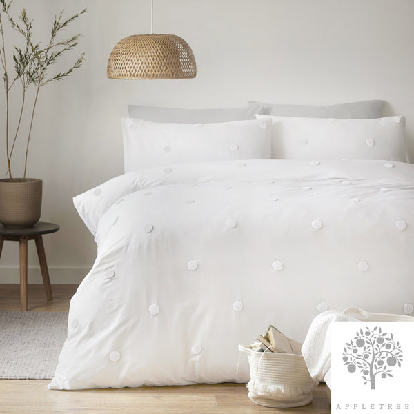 Dot Garden White - 100% Brushed Cotton Duvet Cover Set by Appletree Signature