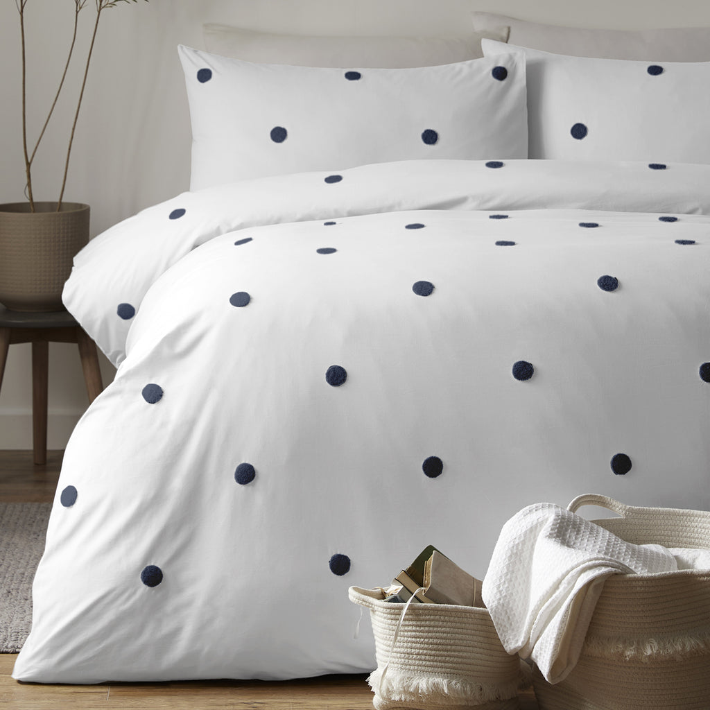 Dot Garden - 100% Cotton Duvet Cover Set in White & Navy - by Appletree Signature