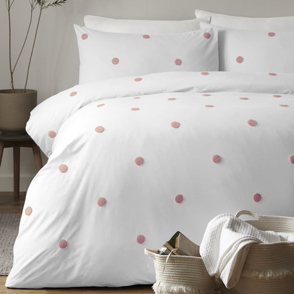 Dot Garden - 100% Cotton Duvet Cover Set in White & Pink - by Appletree Signature