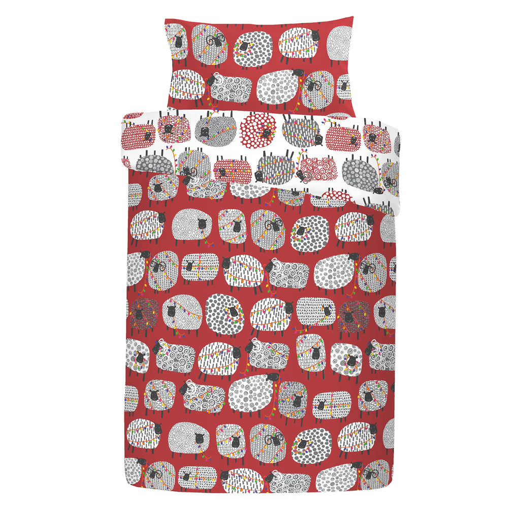 Dotty Sheep Christmas - Easy Care Duvet Cover Set in Red - By Fusion
