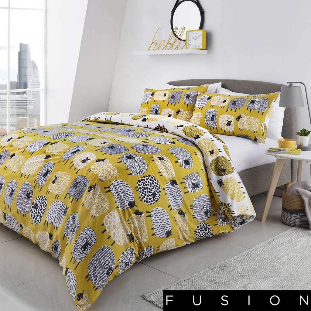 Dotty Sheep Ochre - Easy Care Duvet Cover Set - By Fusion