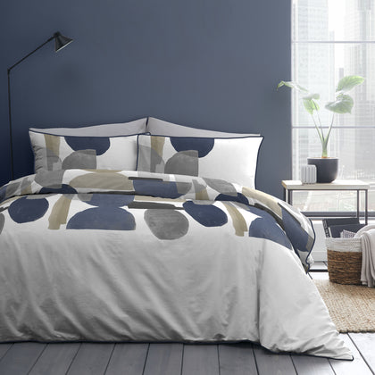 Duval - 100% Cotton Duvet Cover Set in Navy - by Appletree Style