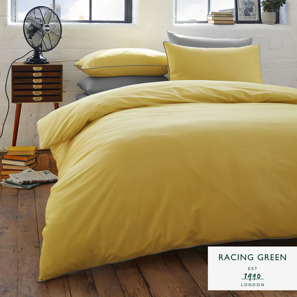 Plain Dye 100% Cotton Duvet Set - Ochre with Grey Contrast Piping by Racing Green