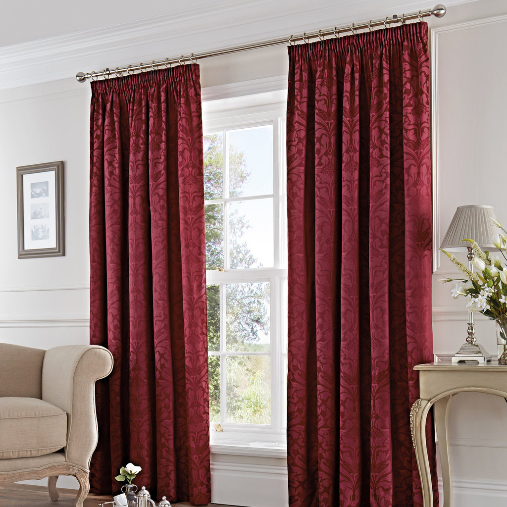 Eastbourne - Pair of Pencil Pleat Curtains in Burgundy- by Fusion