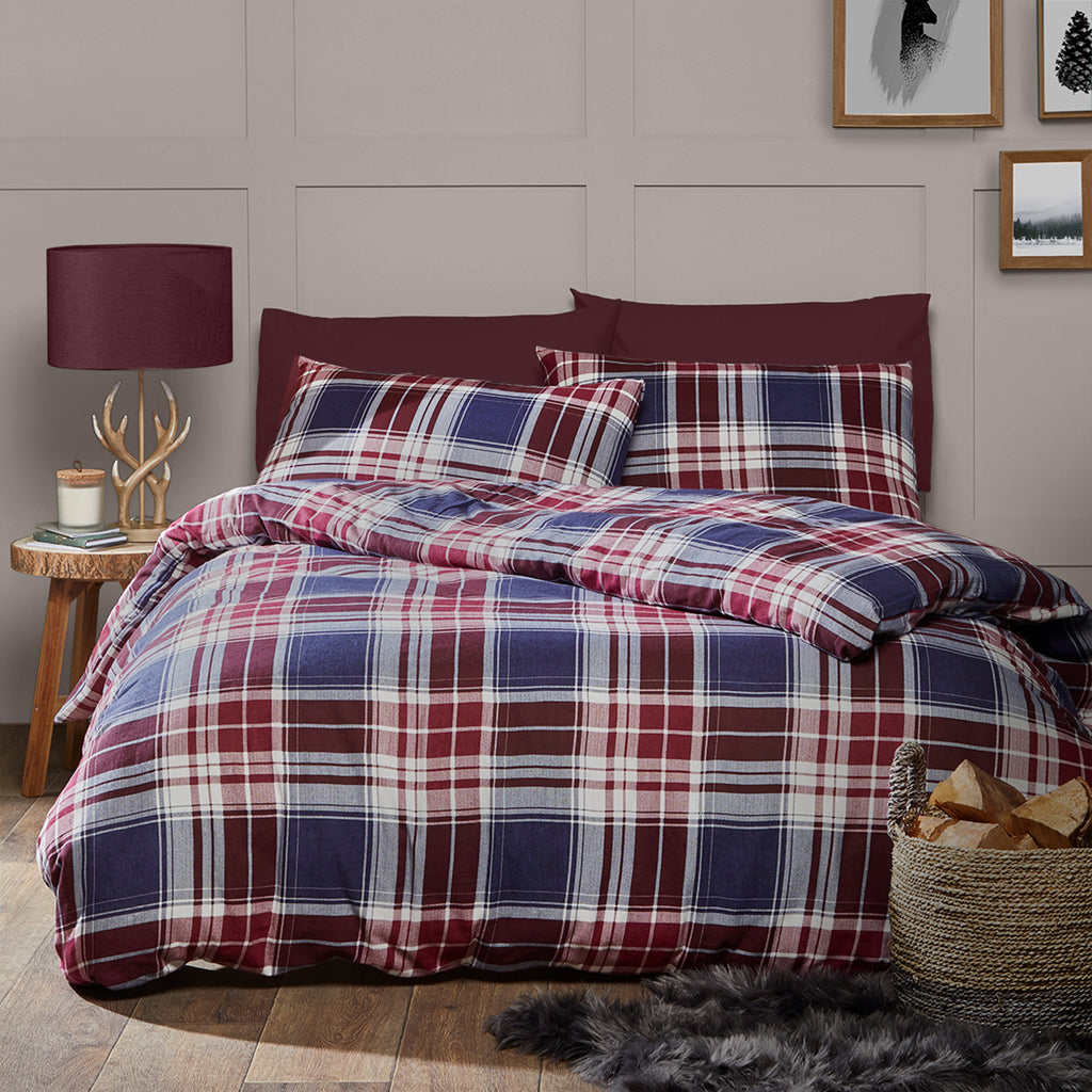 Edwards Check - 100% Brushed Cotton Duvet Cover Set in Berry - By Fusion