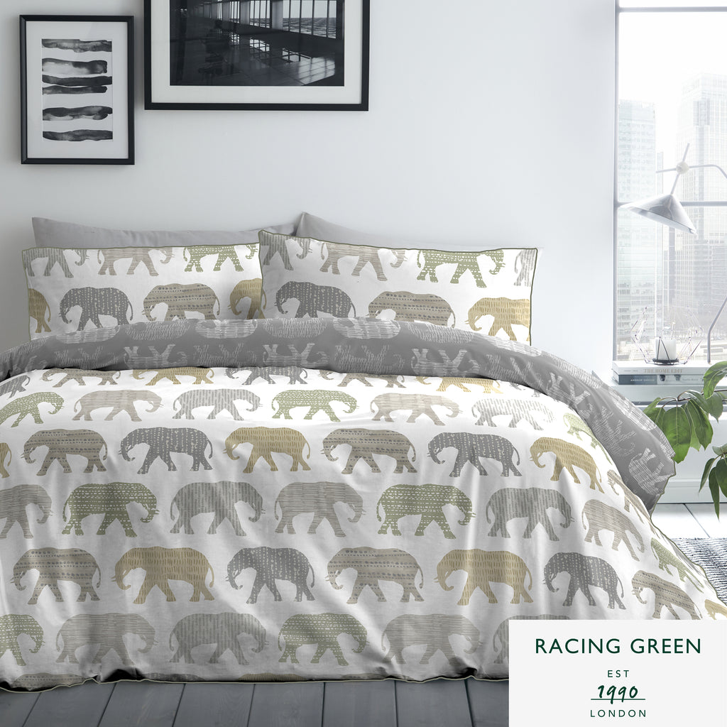 Elephants - Easy Care 180 TC Duvet Set in Natural - by Racing Green