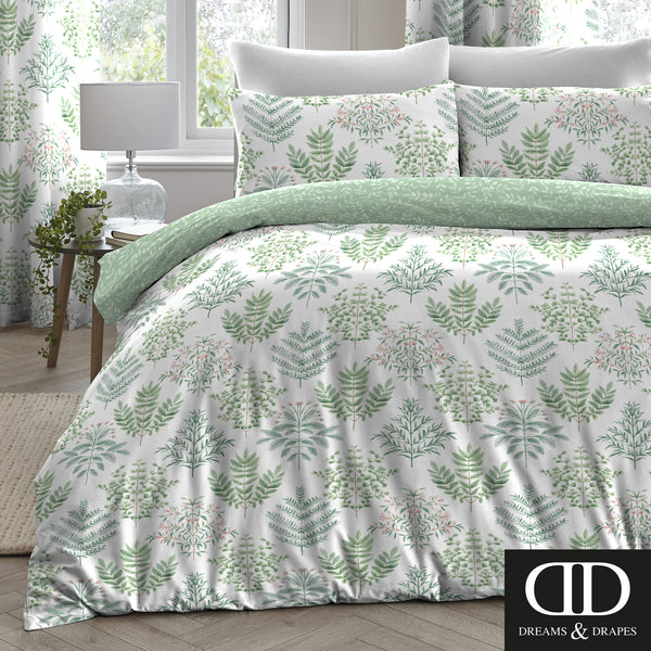 Emily Green - Easy Care Floral Bedding & Curtains - by Dreams & Drapes