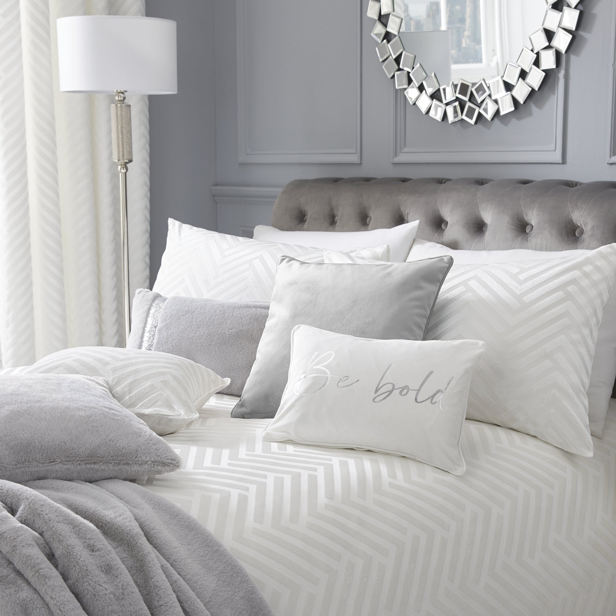 Faye - Tufted Chevron Duvet Cover Set in Ivory - By Caprice