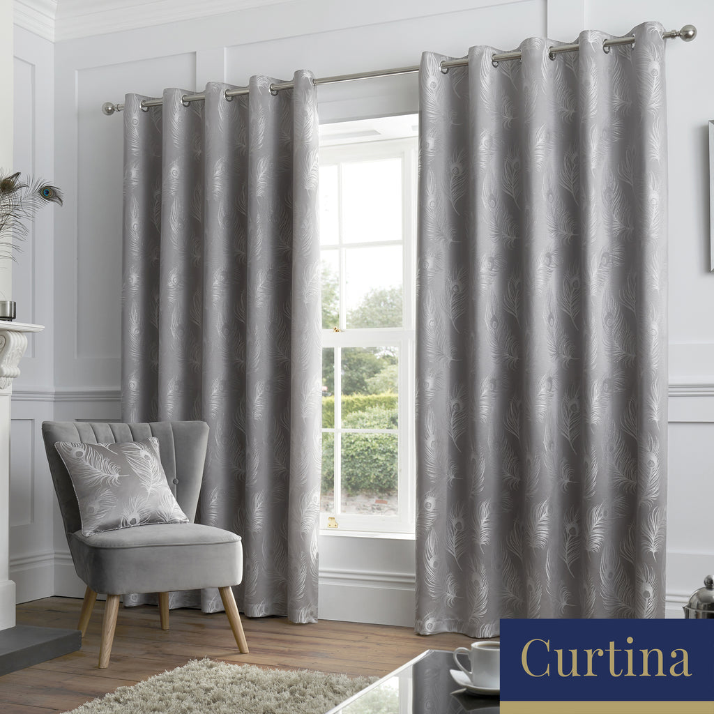 Feather - Jacquard Eyelet Curtains in Silver - By Curtina