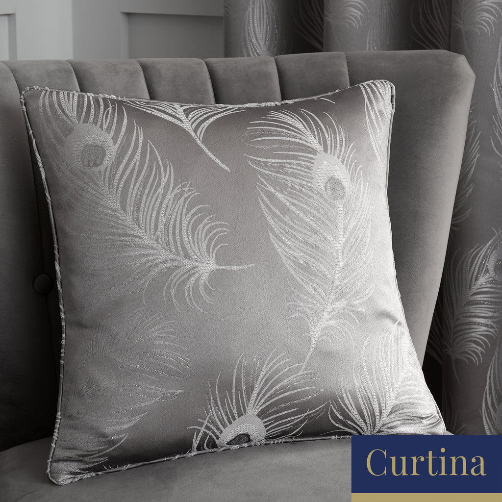 Feather - Jacquard Filled Square Cushion in Silver - by Curtina