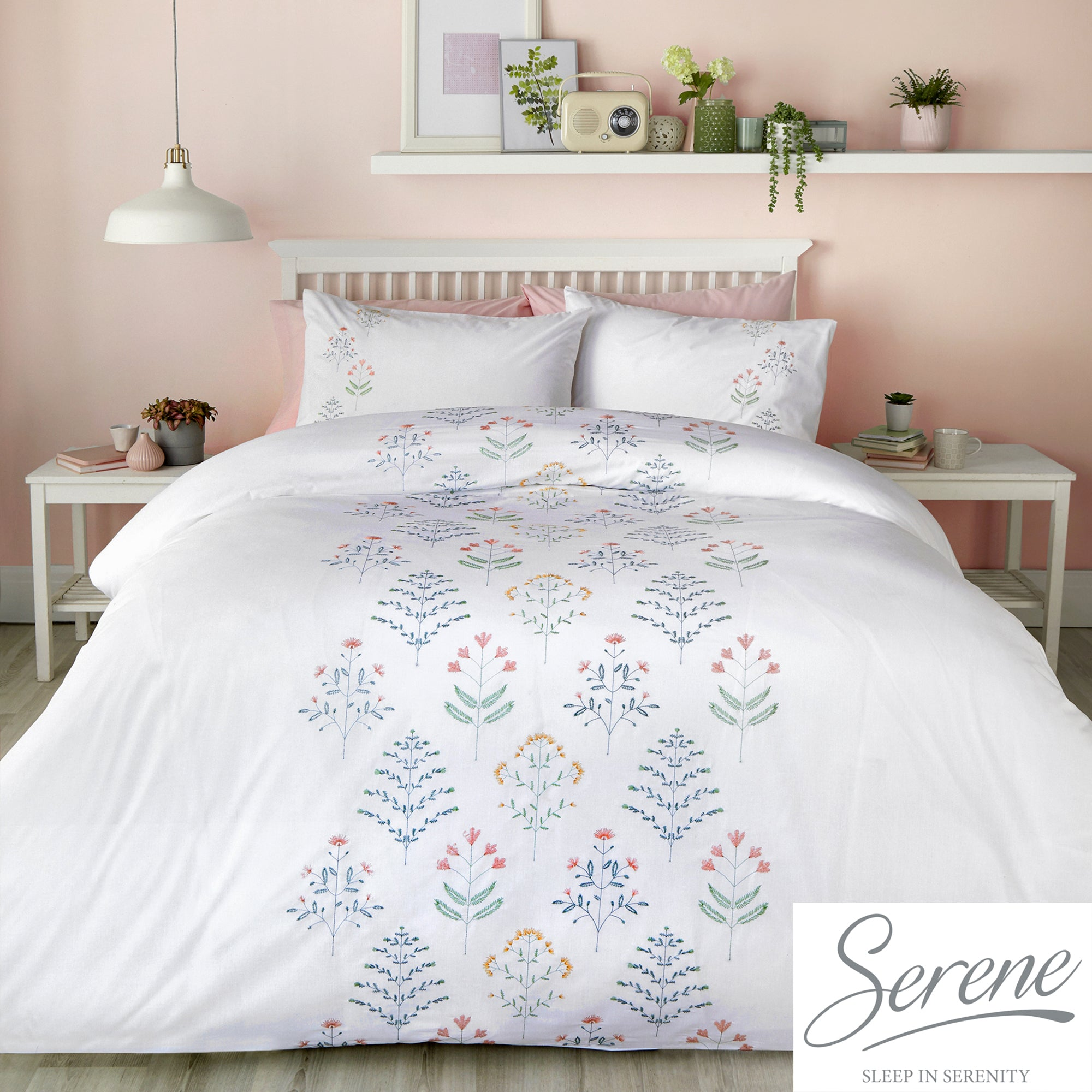 Flora - Embroidered Duvet Cover Set in White & Green - by Serene
