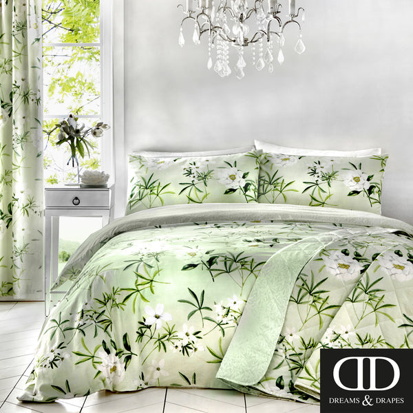 Florence Green - Easy Care Floral Bedding & Curtains - by Dreams & Drapes