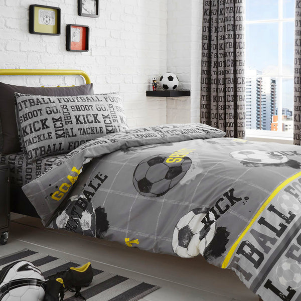 Football - Easy Care Duvet Cover Set, Curtains & Fitted Sheets - by Bedlam