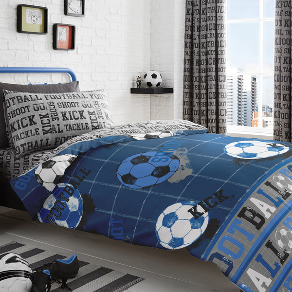 Football - Easy Care Duvet Cover Set in Blue - by Bedlam