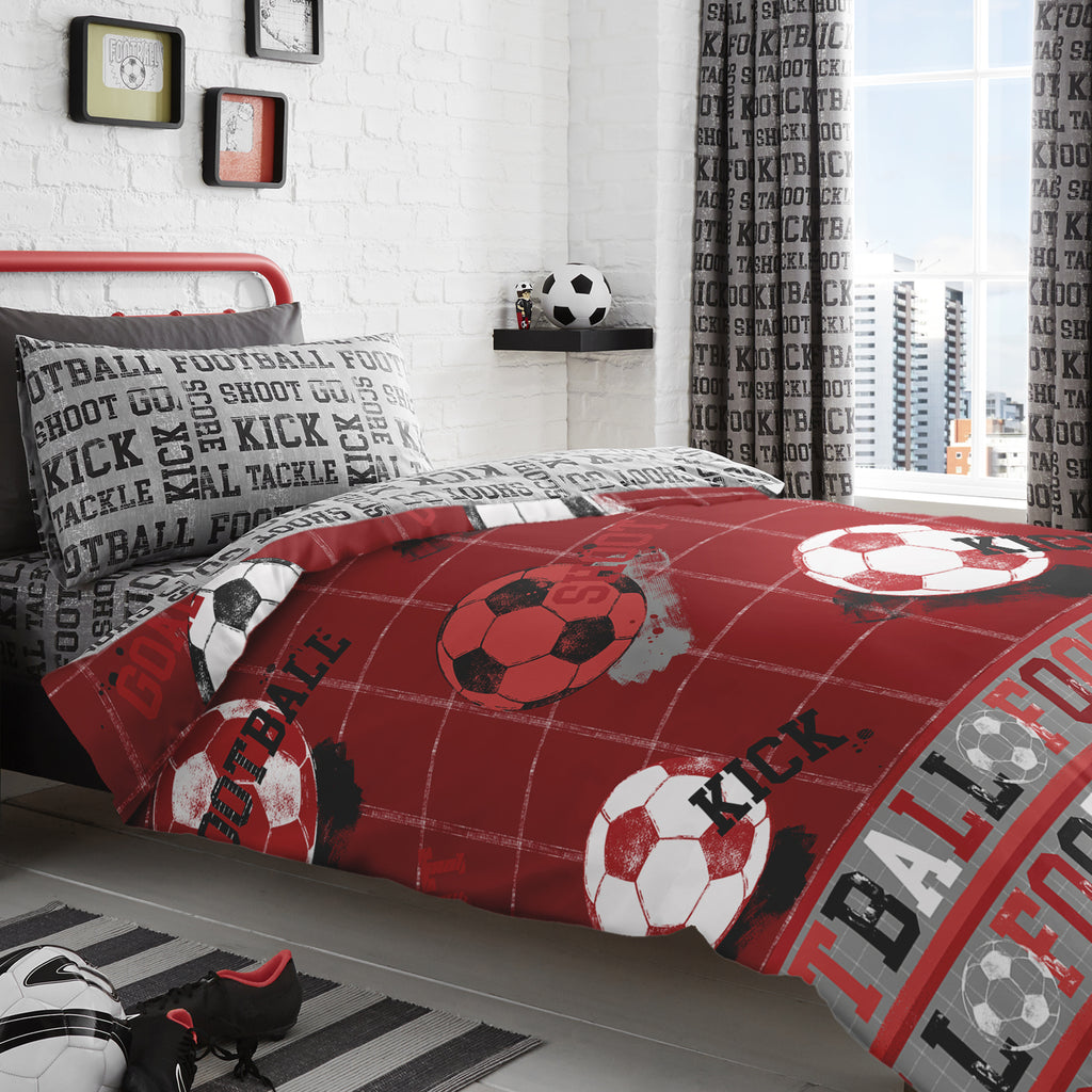 Football - Easy Care Duvet Cover Set in Red - by Bedlam