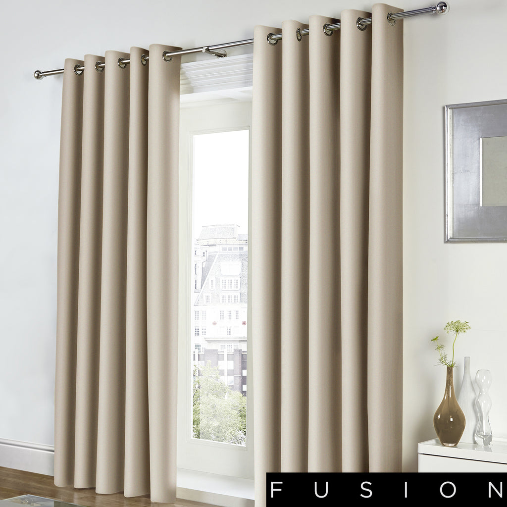 Freya - 100% Cotton Lined Eyelet Curtains in Natural - by Fusion
