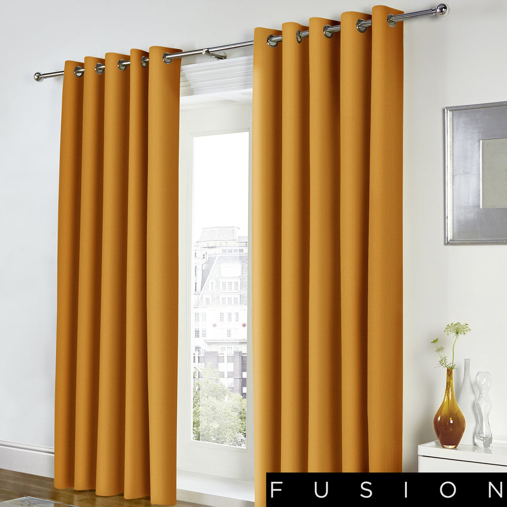 Freya - 100% Cotton Lined Eyelet Curtains in Ochre - by Fusion