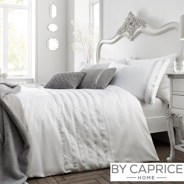 Garbo - White Duvet Cover Set - By Caprice Home