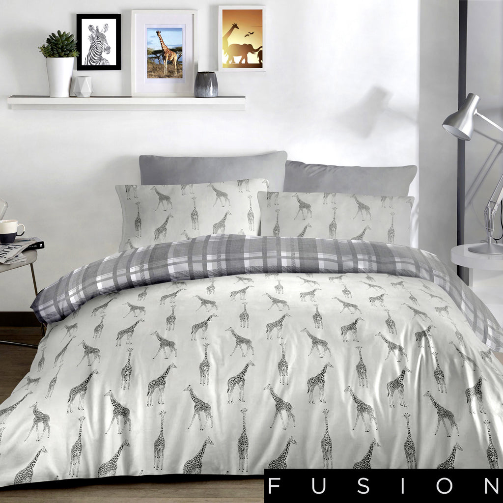 Giraffe Charcoal - Easy Care Duvet Cover Set - By Fusion