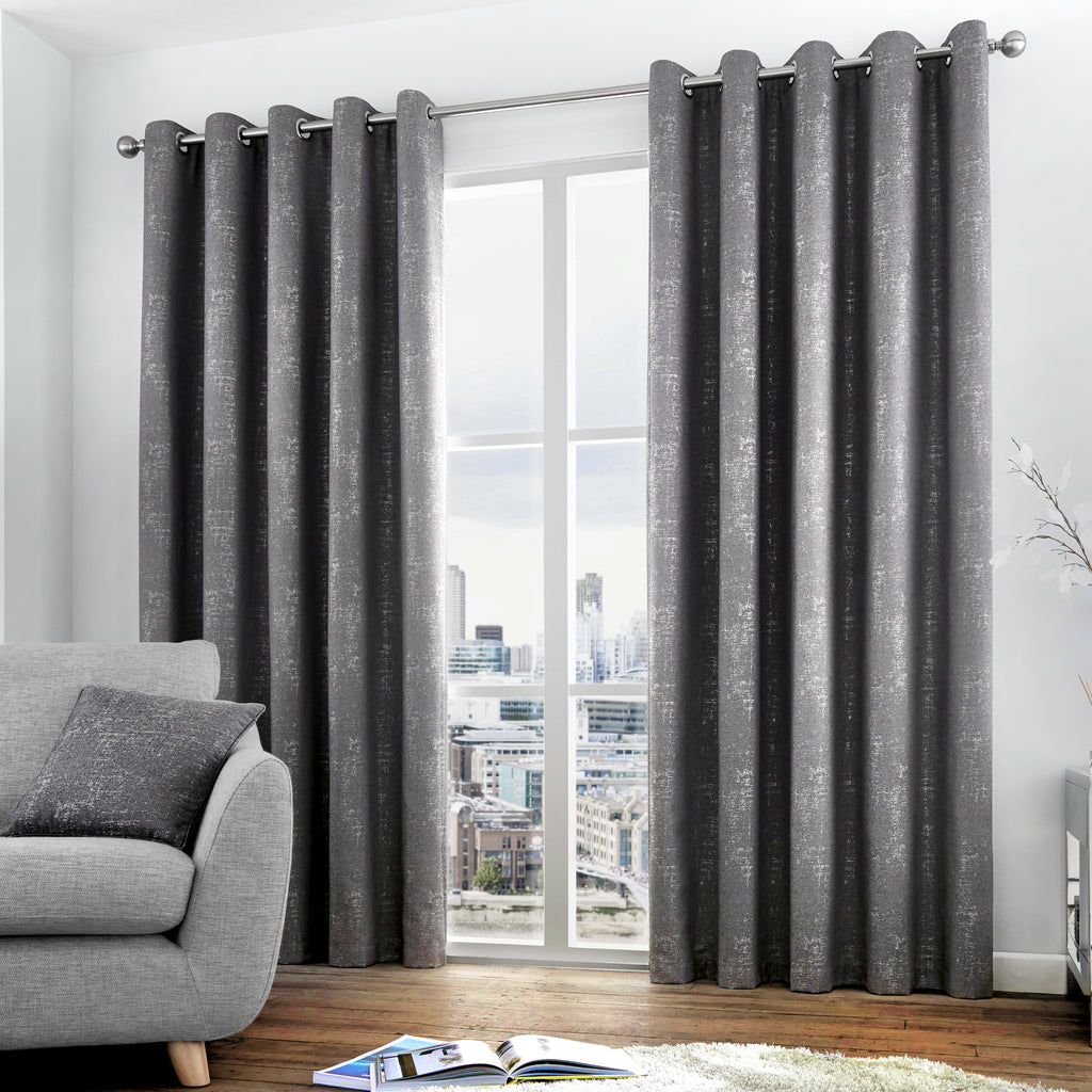 Solent - Lined Eyelet Curtains in Graphite