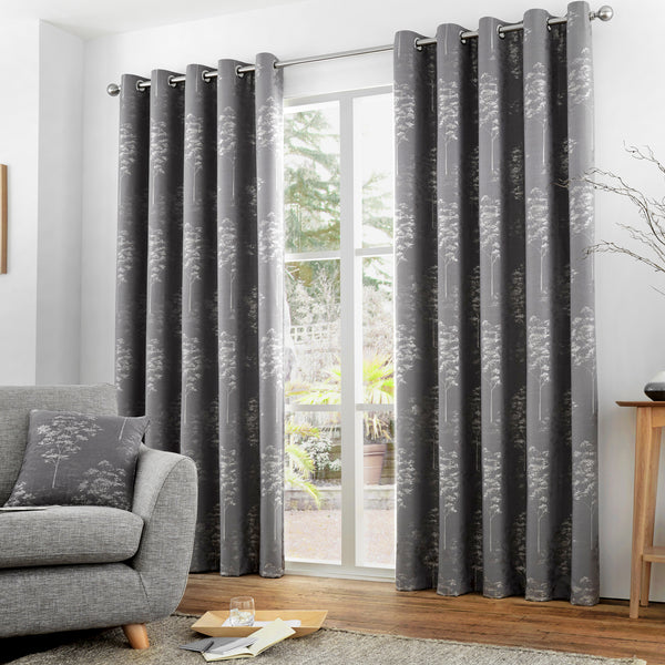 Elmwood - Lined Eyelet Curtains in Graphite