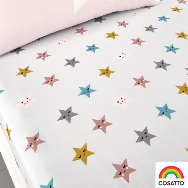 Happy Stars - Twin Pack 100% Cotton Fitted Sheets - Cosatto