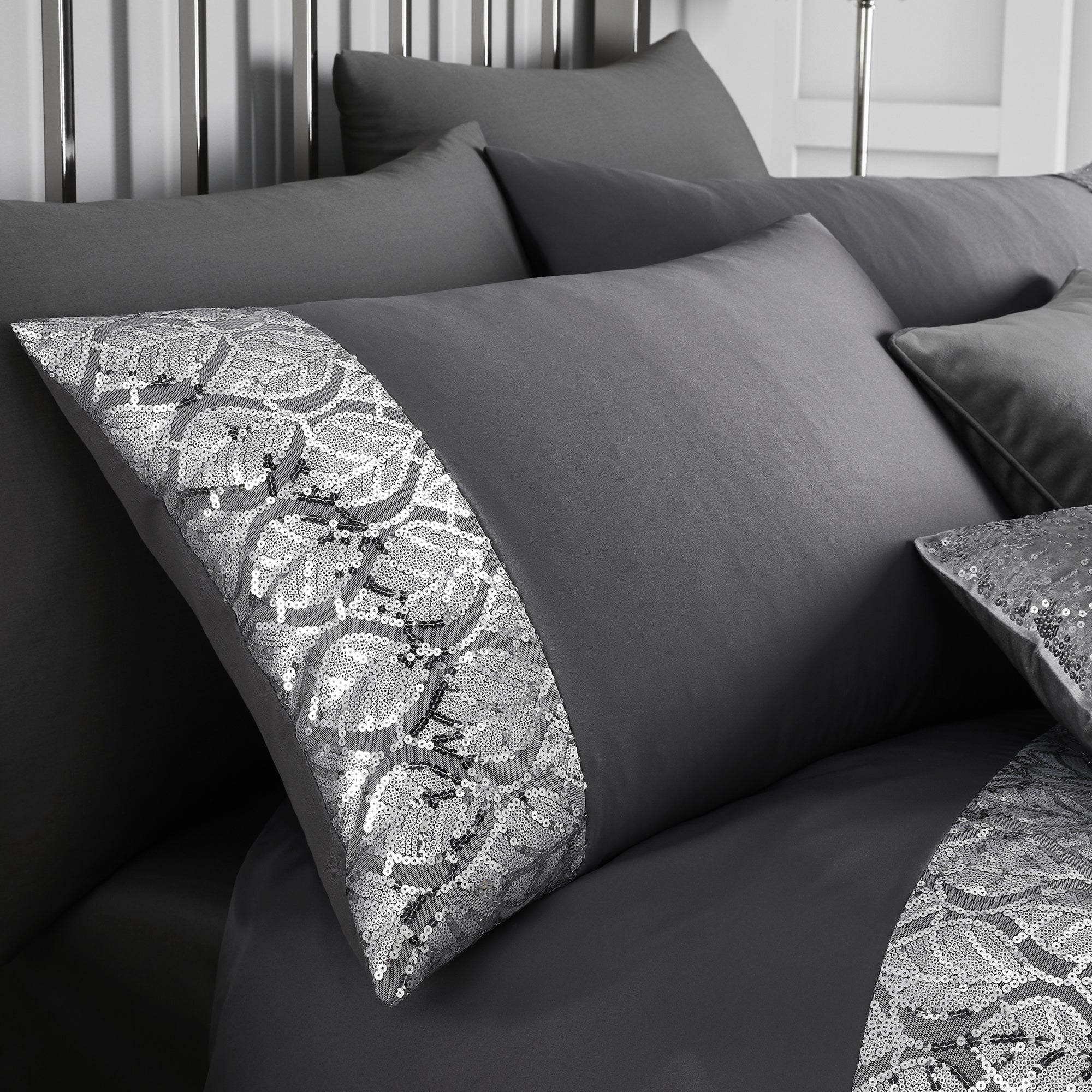Hayworth - Sequin Leaf Trim Duvet Cover Set in Slate - By Caprice
