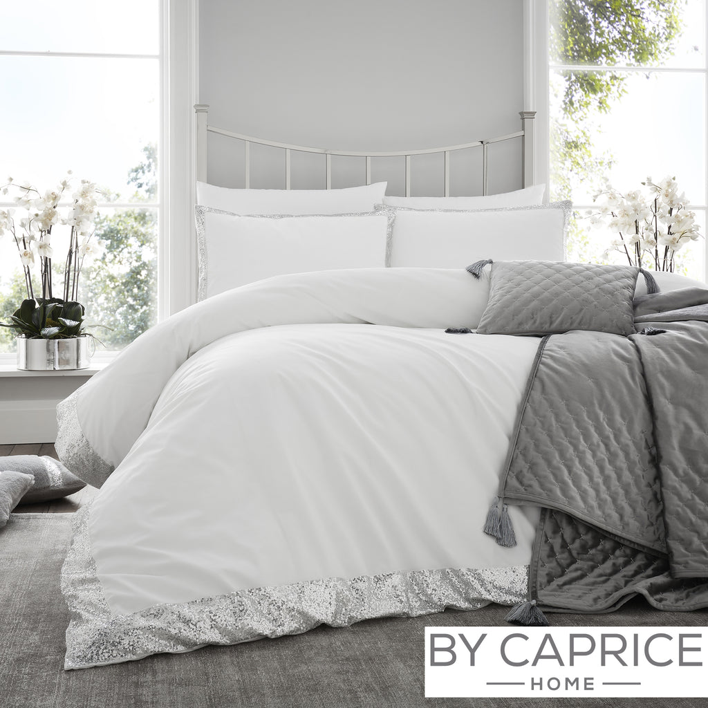 Hepburn - Silver & White Duvet Cover Set - By Caprice Home
