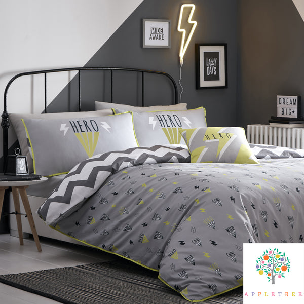Hero - Glow in the Dark Duvet Cover Set in Silver - by Appletree Kids