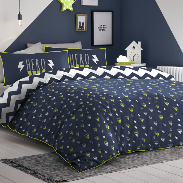 Hero - Glow in the Dark Duvet Cover Set in Navy - by Appletree Kids