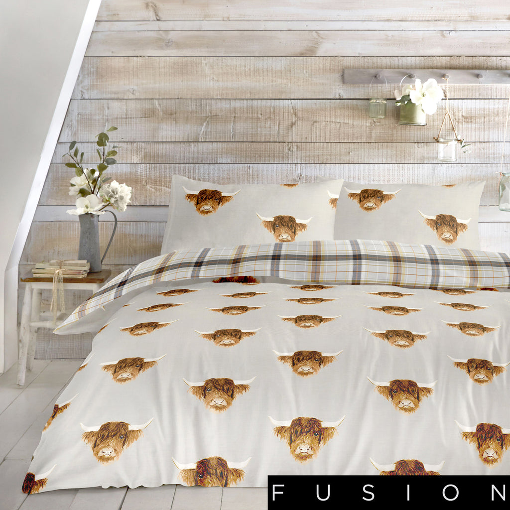 Highland Cow	Ochre - Easy Care Duvet Cover Set - By Fusion