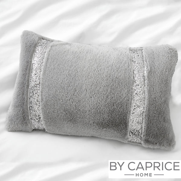 Ingrid - Sequin band Faux Fux Filled Cushion - By Caprice Home