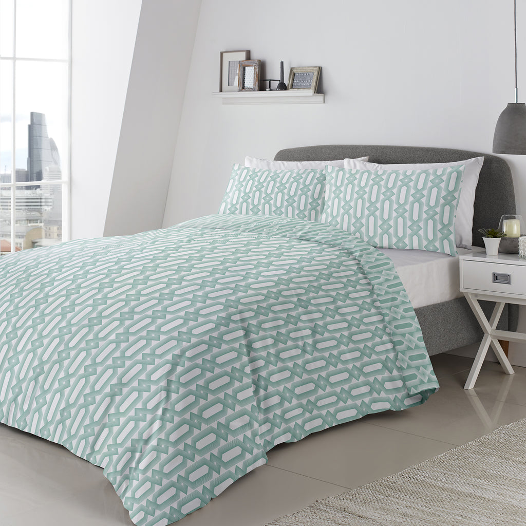 Jax- 100% Cotton Duvet Cover Set in Mint- by Appletree