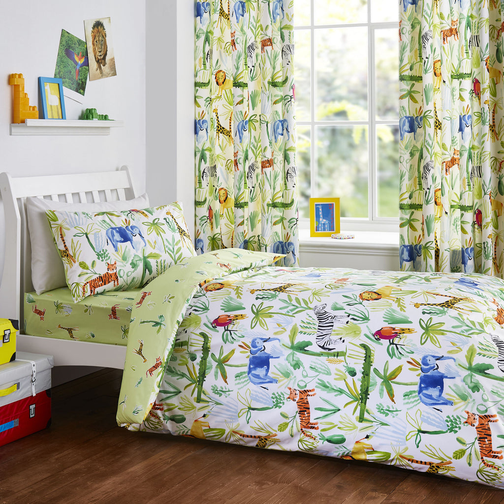 Jungle - Children's Duvet Cover Set, Curtains & Fitted Sheets - by Bedlam