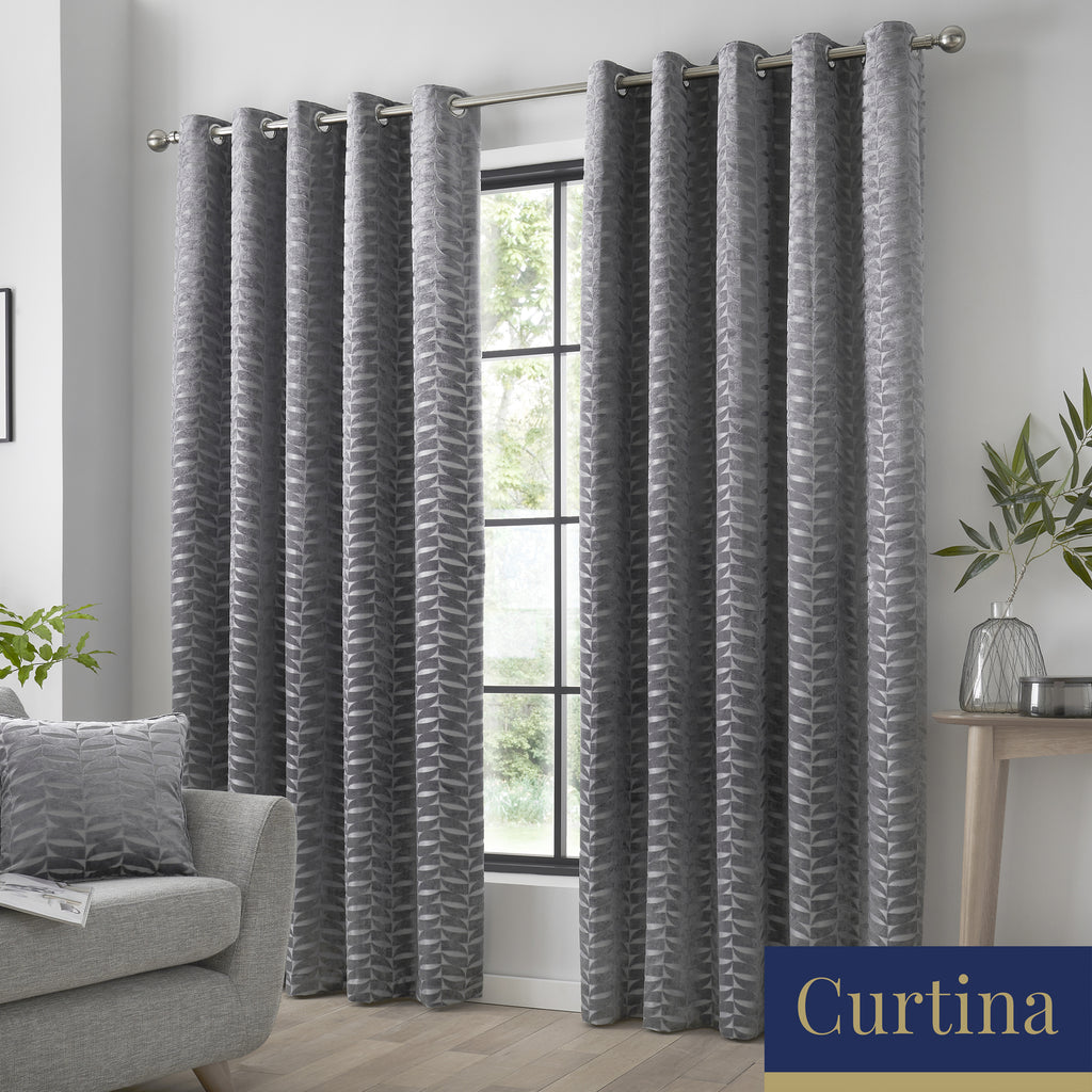 Kendal - Geometric Jacquard Eyelet Curtains in Charcoal - By Curtina