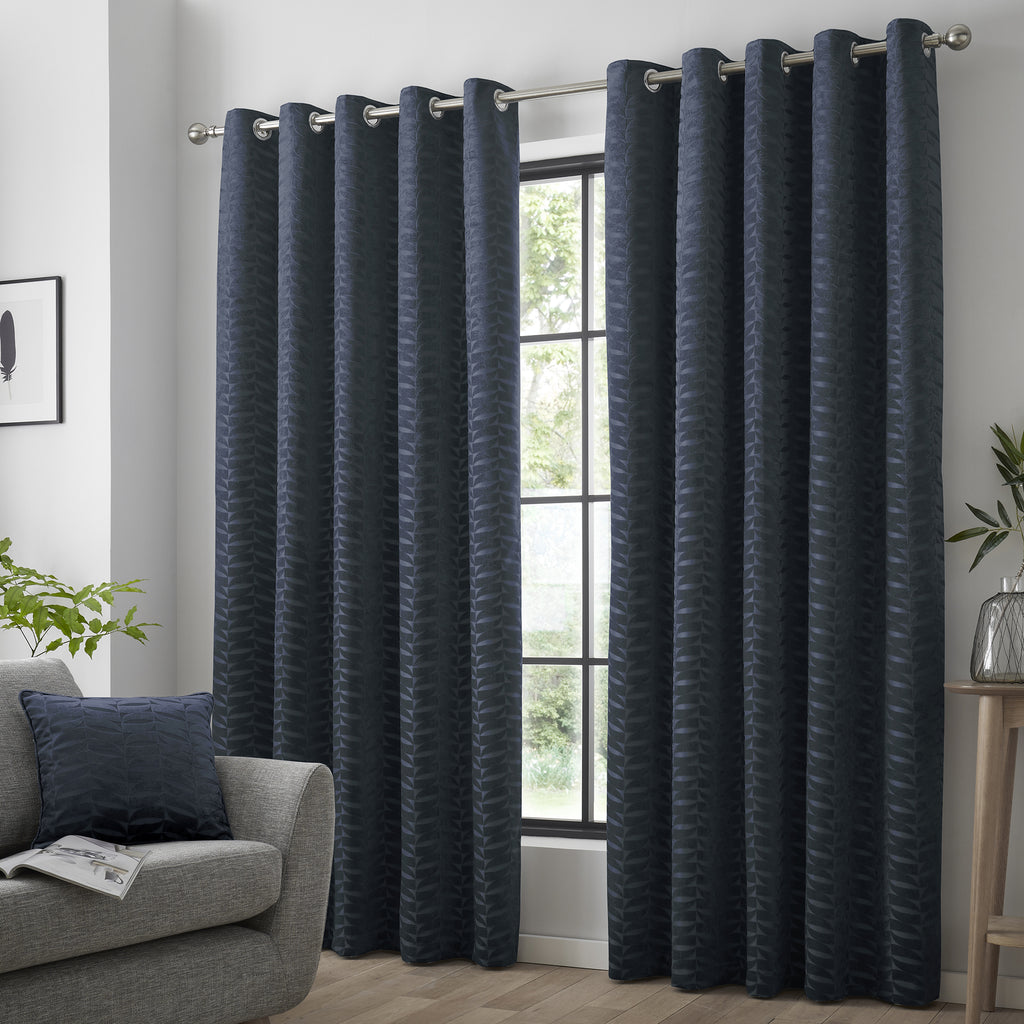 Kendal - Geometric Jacquard Eyelet Curtains in Navy - By Curtina