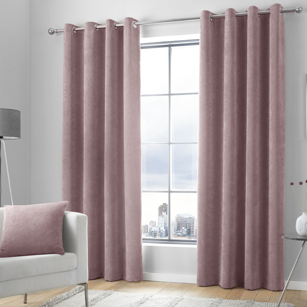 Kilbride Cord - Chenille Eyelet Curtains in Blush - By Appletree Signature