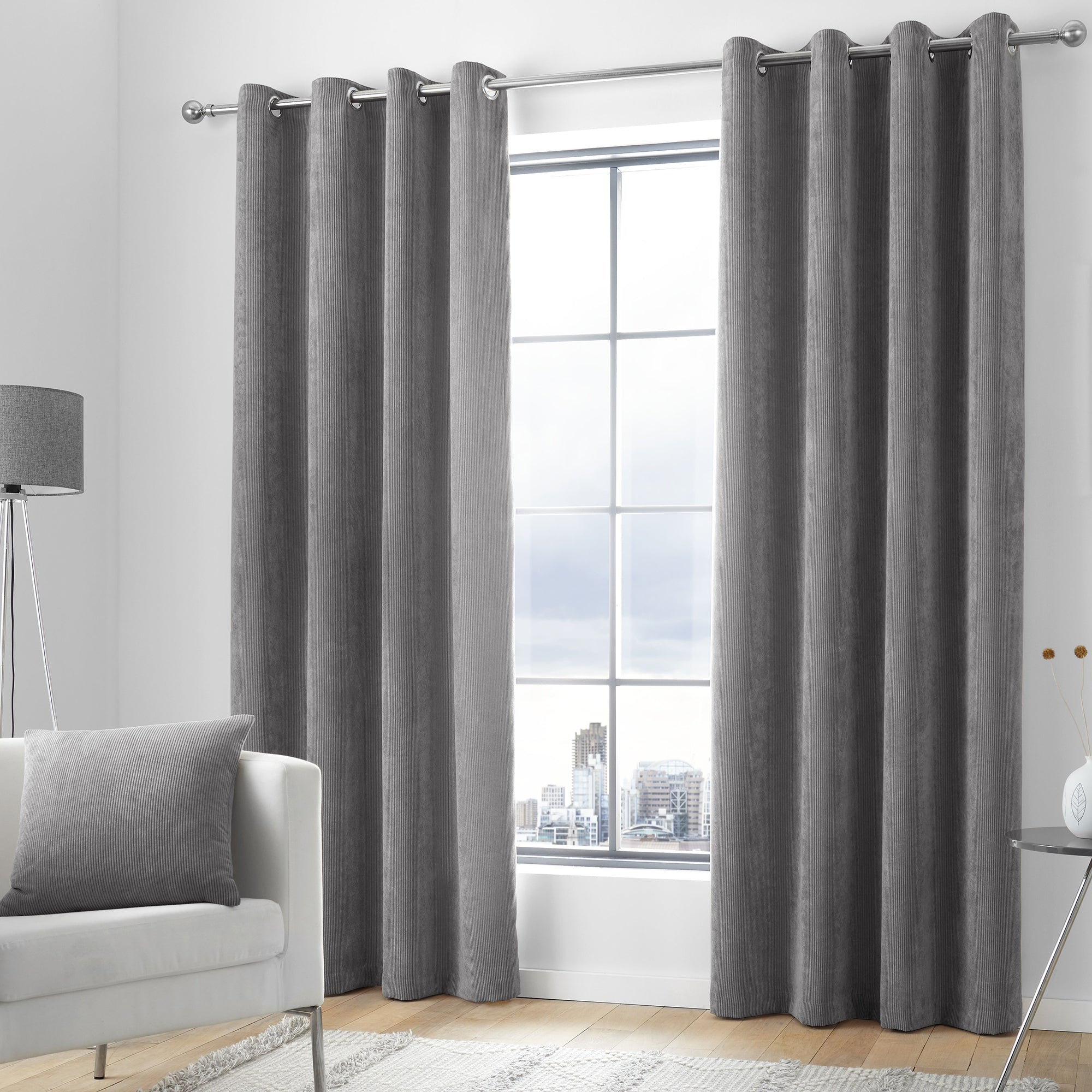 Kilbride Cord - Chenille Eyelet Curtains in Charcoal- By Appletree Loft