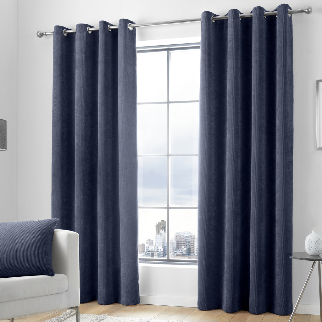 Kilbride Cord - Chenille Eyelet Curtains in Navy - By Appletree Signature