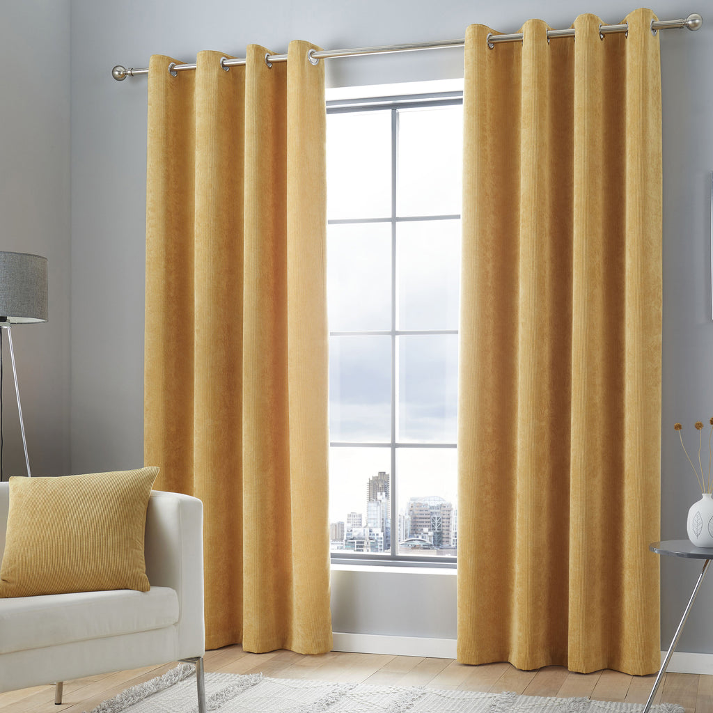 Kilbride Cord - Chenille Eyelet Curtains in Ochre - By Appletree Signature