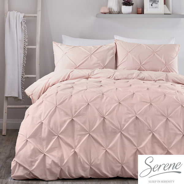 Lara - 144 TC Pleated Duvet Cover Set in Blush - by Serene
