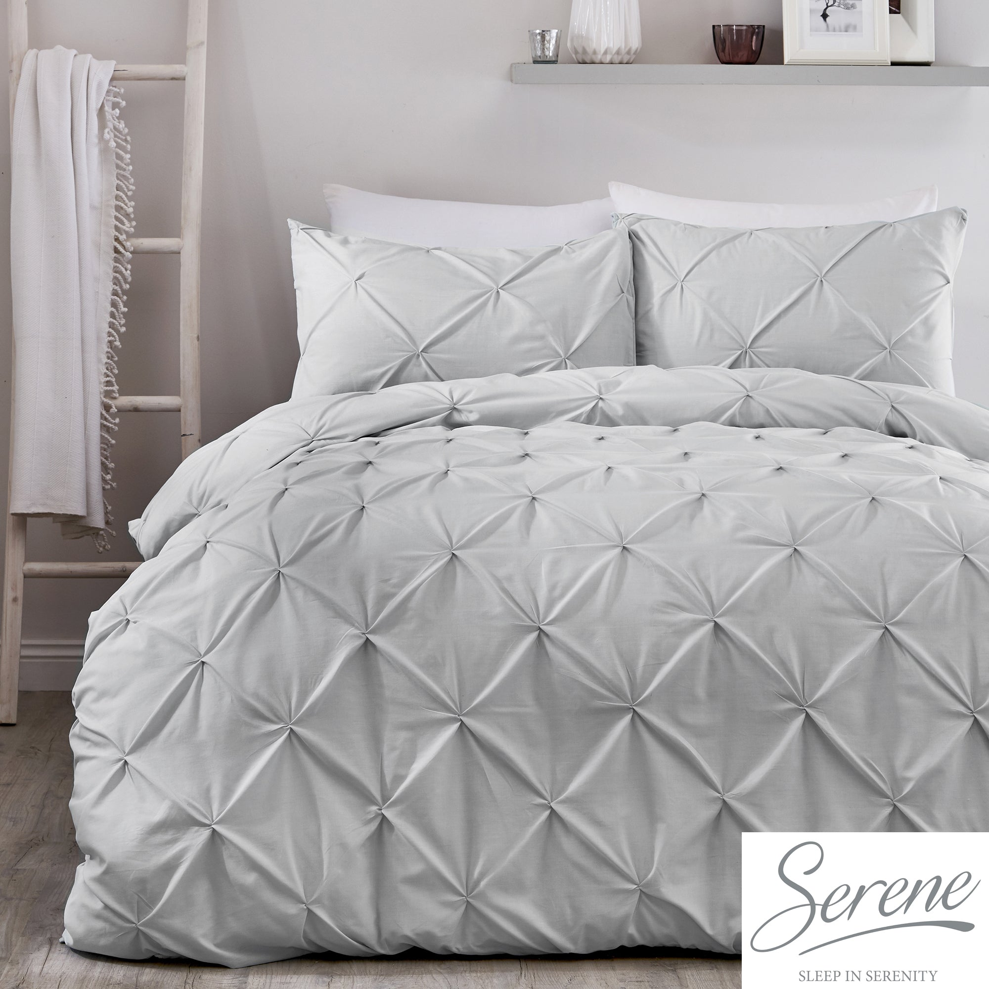 Lara - Pleated Duvet Cover Set in Silver - by Serene