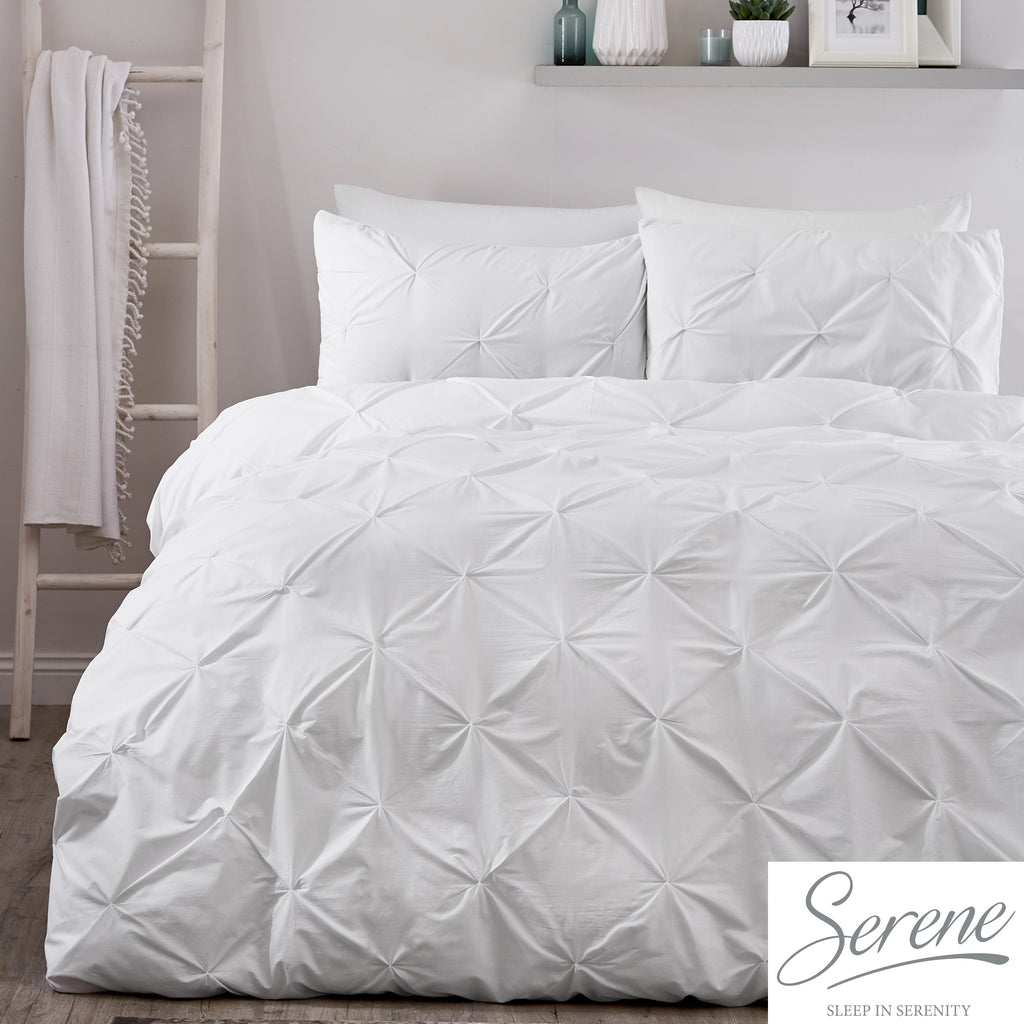 Lara - 144 TC Pleated Duvet Cover Set in White - by Serene