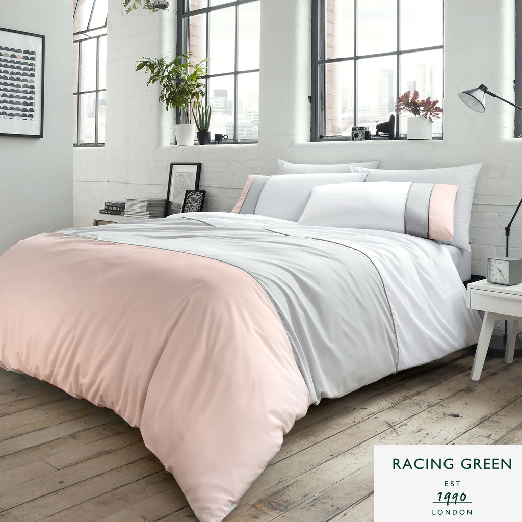 Lawson - 100% Cotton - Panel Duvet Set in Blush & Grey by Racing Green