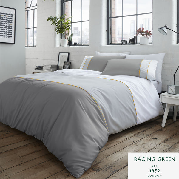 Lawson - 100% Cotton - Panel Duvet Set in Grey by Racing Green