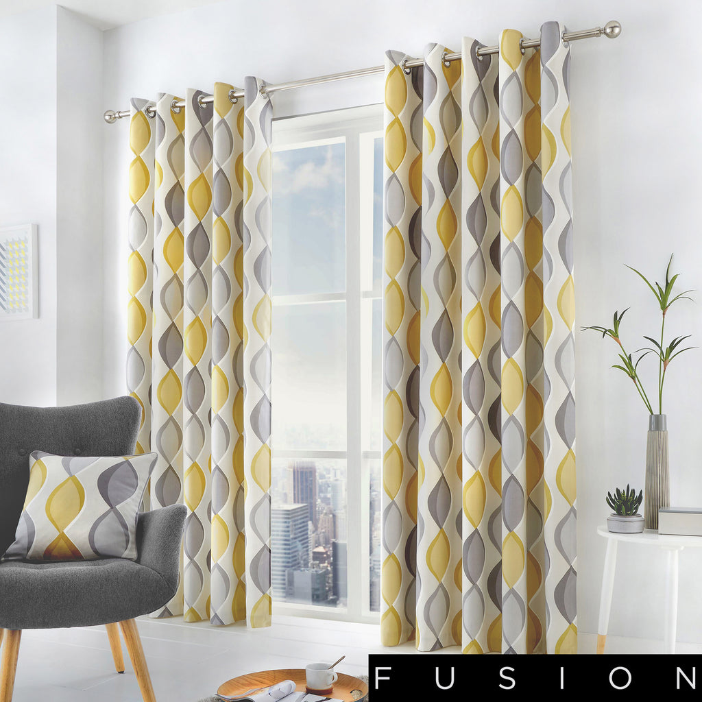 Lennox - 100% Cotton Lined Eyelet Curtains in Grey - by Fusion