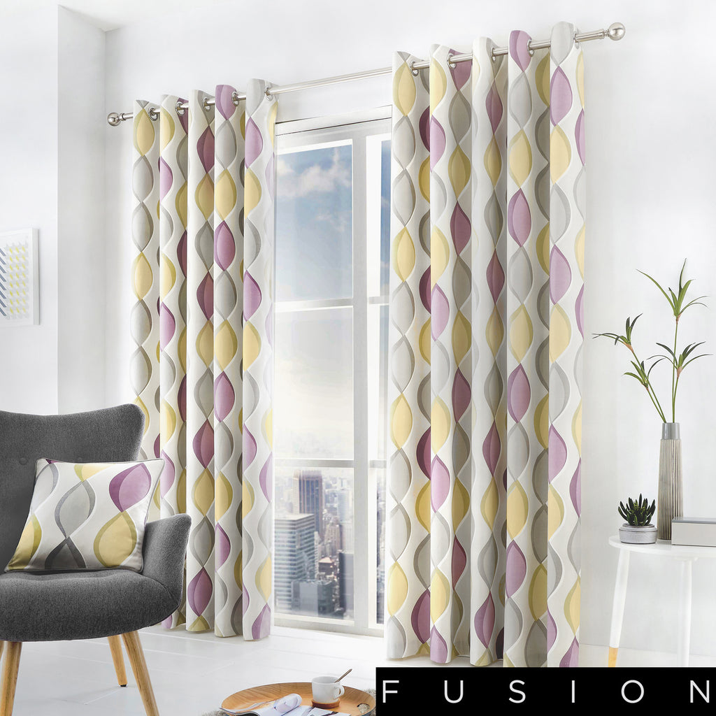 Lennox - 100% Cotton Lined Eyelet Curtains in Heather - by Fusion