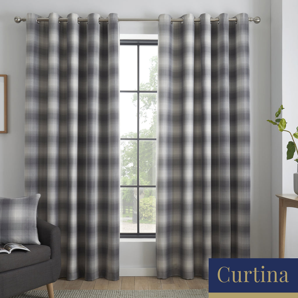Lincoln Check - Damask Jacquard Eyelet Curtains in Grey - By Curtina