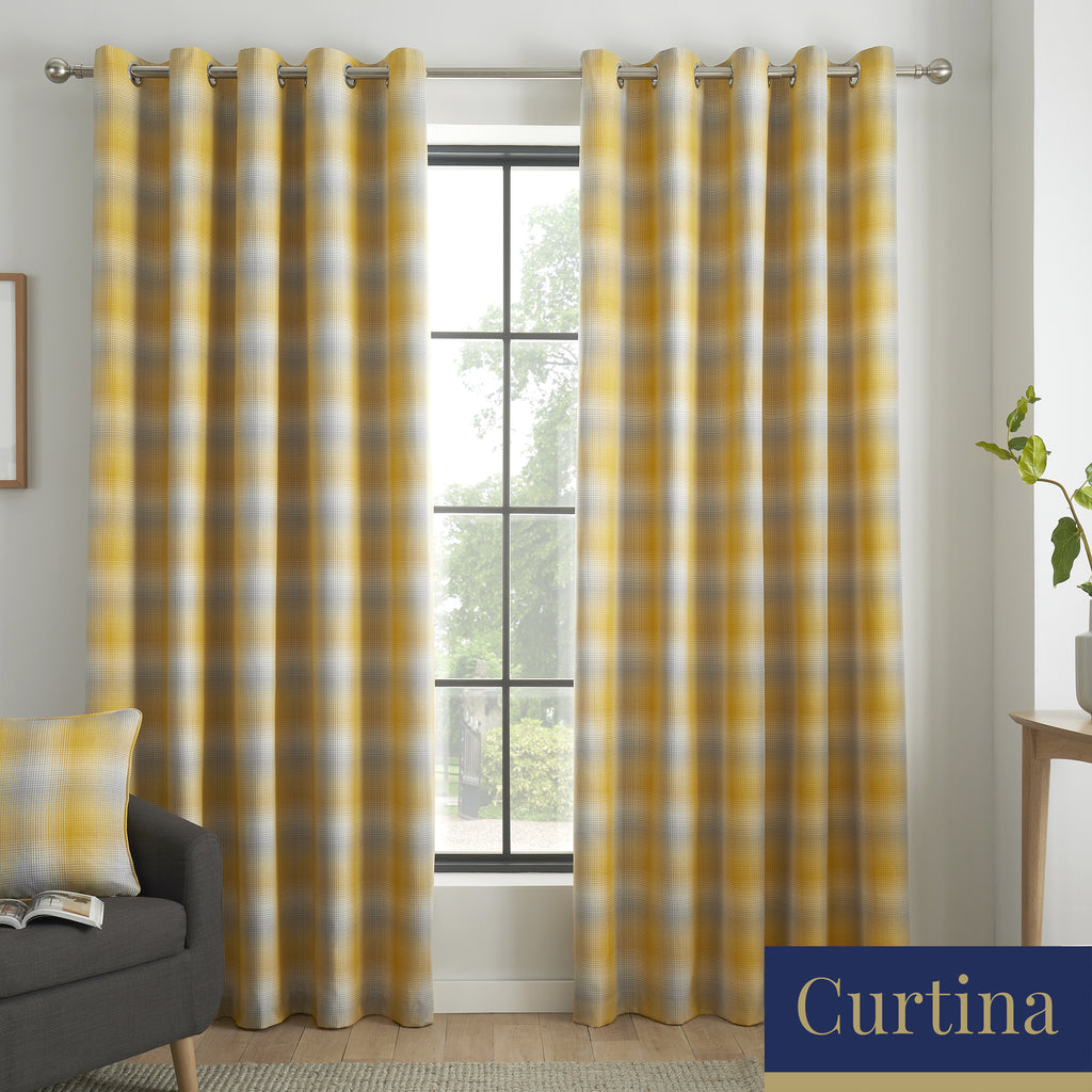 Lincoln Check - Damask Jacquard Eyelet Curtains in Ochre - By Curtina